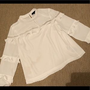 J Crew White Dress Blouse Size 6